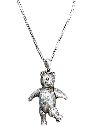 Vintage Silver Moveable Teddy Necklace