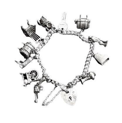 Vintage Assayed Silver Charm Bracelet 1 Oz +