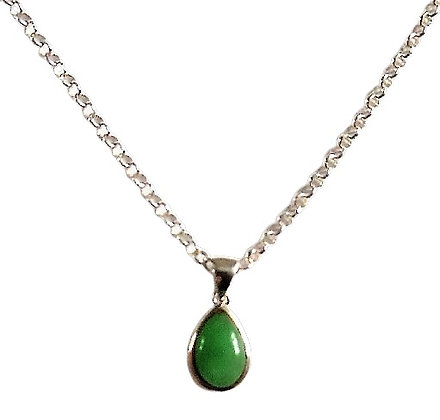 Sterling Silver Green Pear Necklace