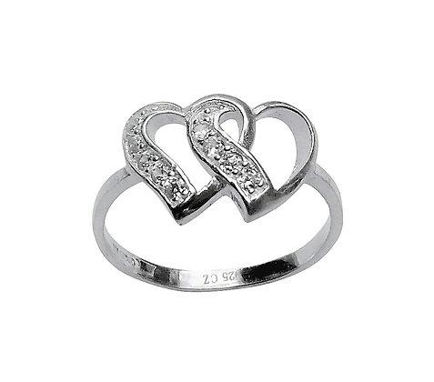 Assayed Interlinking Heart Ring
