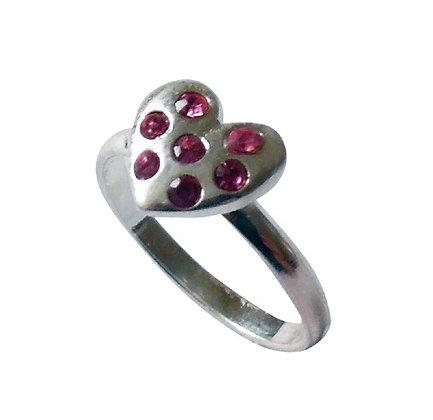 Assayed Silver Girls Ring Pink Heart