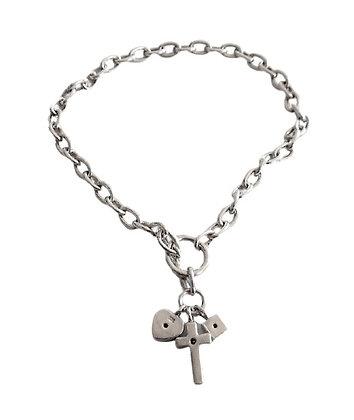 Vintage Sterling Silver Charm Bracelet Heart Cross