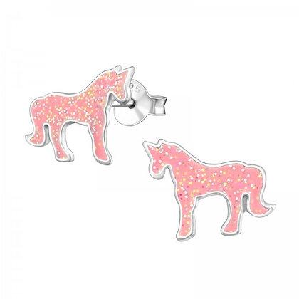 Pink Sterling Unicorn Earrings