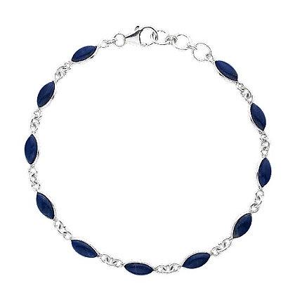 Sterling Lapis Lazuli Royal Blue Bracelet Marquise