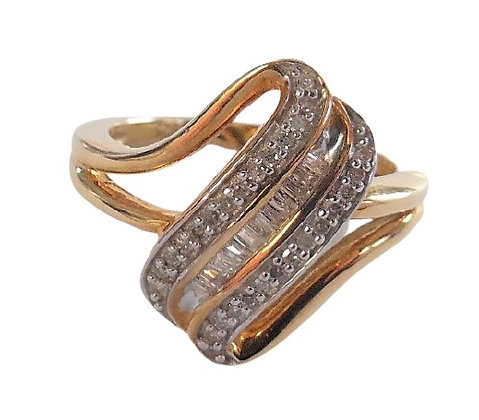 Sterling Silver Deco Ring Baguette