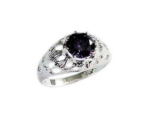 Assay Hallmarked Round Amethyst Purple Solitaire Ring