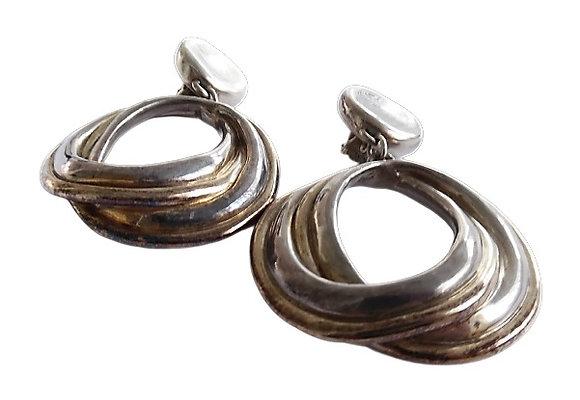 Vintage Oversized Sterling Silver Clip On Dangly Earrings