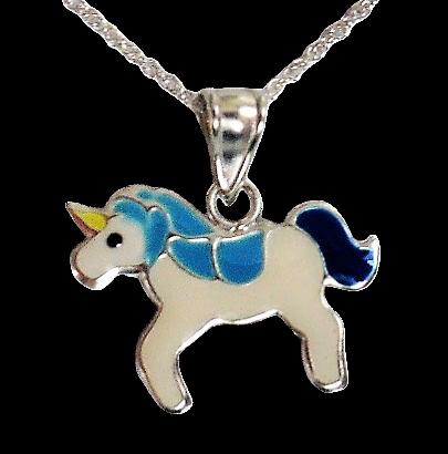 Sterling Unicorn Necklace Blue