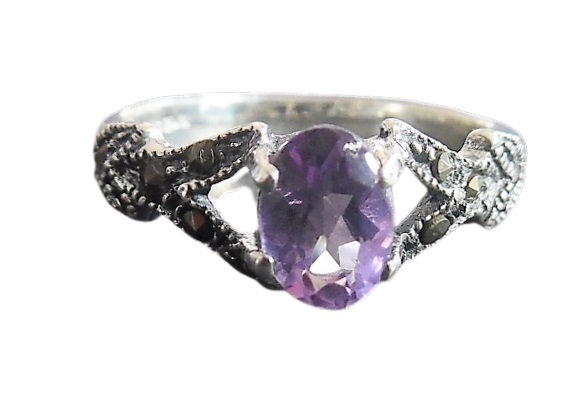 Assayed Amethyst Purple Marcasite Ring