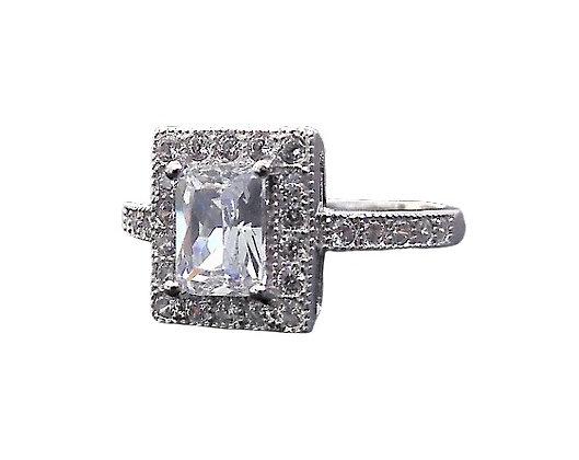 Assayed Rectangular Silver Ring Clear CZ