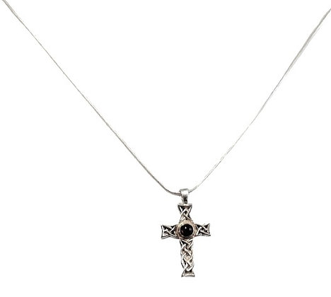 Sterling Silver Garnet Cross and Chain