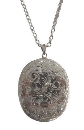 Hallmarked Oval Locket Necklace 1 Oz +