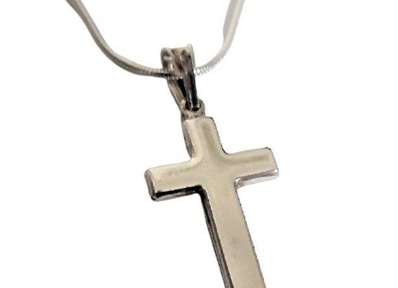 Real Silver Plain Cross and Chain