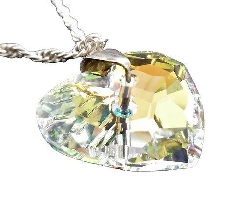 Assayed Heavy Long Sterling Silver Jewel Necklace Heart Long Chain