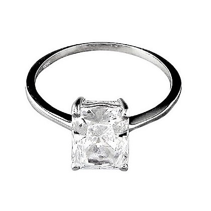 Assayed Radiant Cut Silver Ring