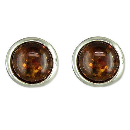 Sterling Brown Amber Studs
