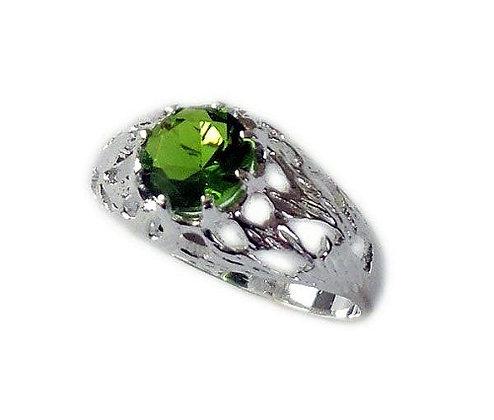 Assay Hallmarked Round Green Solitaire Ring