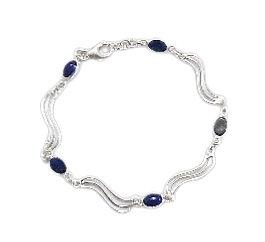 Sterling Royal Blue Bracelet Lapis Lazuli Wave