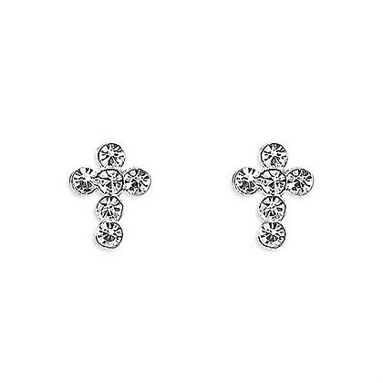 Sterling Silver Crystal Cross Studs
