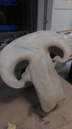 Ploly carved & mixed media mushroom