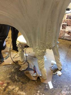 Driftwood legs, white basecoat