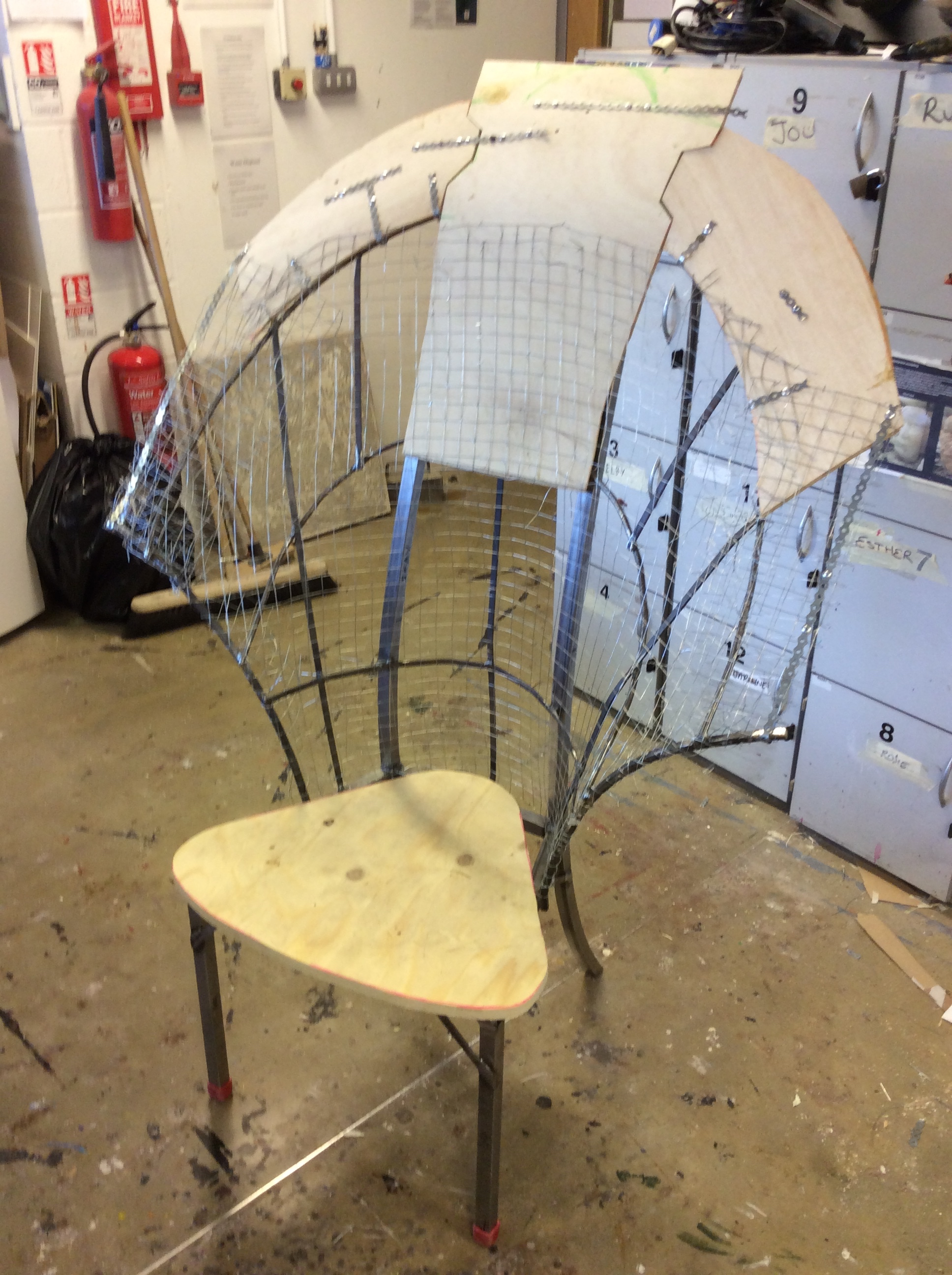 Throne`s frame with plywood & mesh