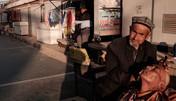 Kashgar. Xinjiang Uyghur. Street barbershop