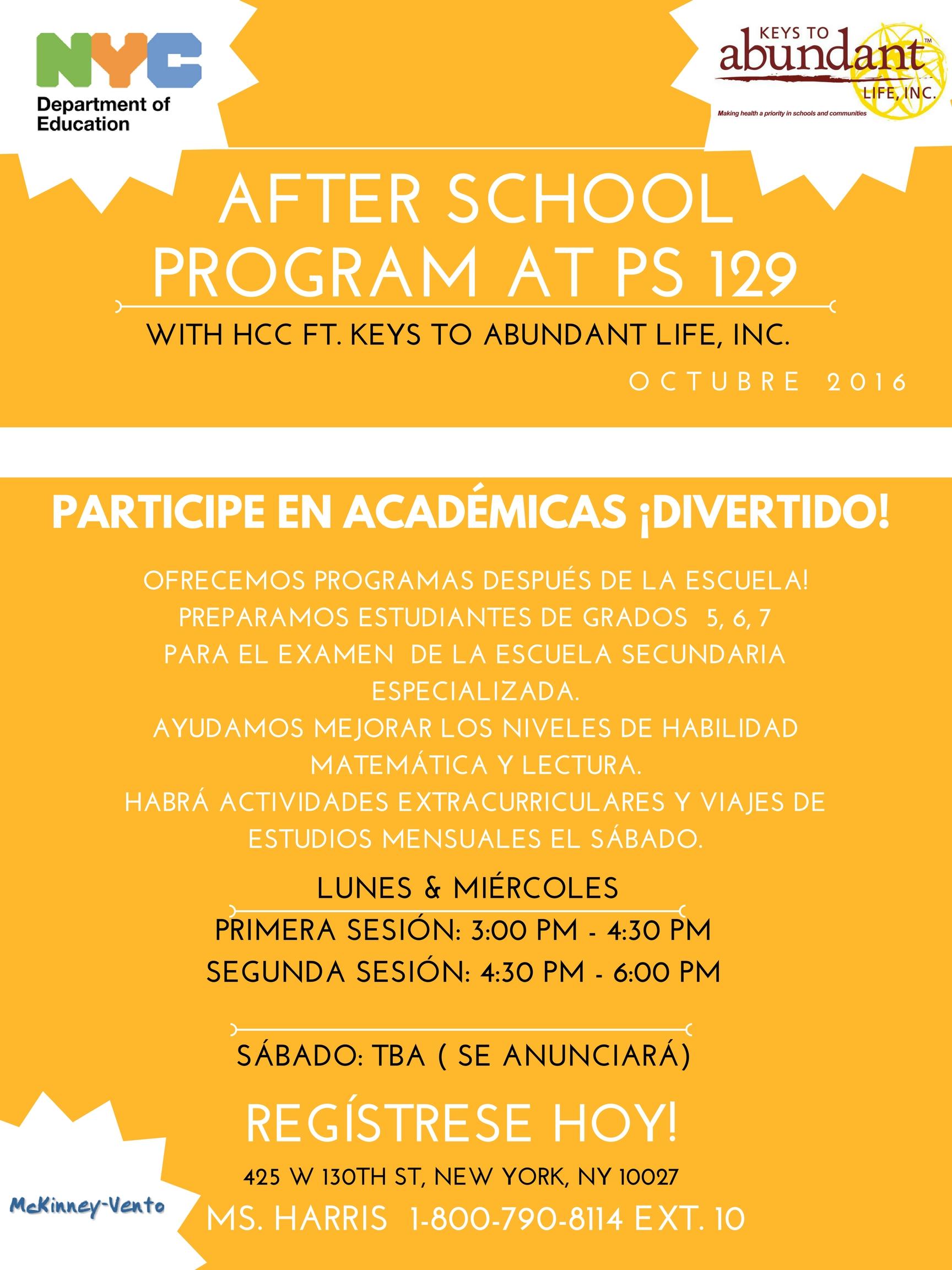 AFTERSCHOOL PROGRAM AT P.S 129