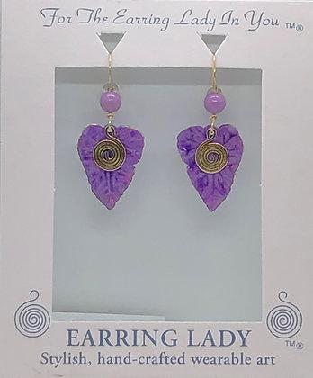 purple patina leaf earrings