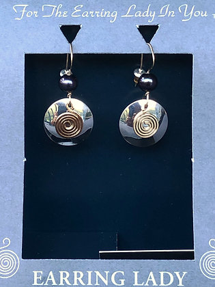 Argentium silver earrings with spiral