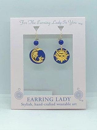 Medium Sun, moon & Star Earrings