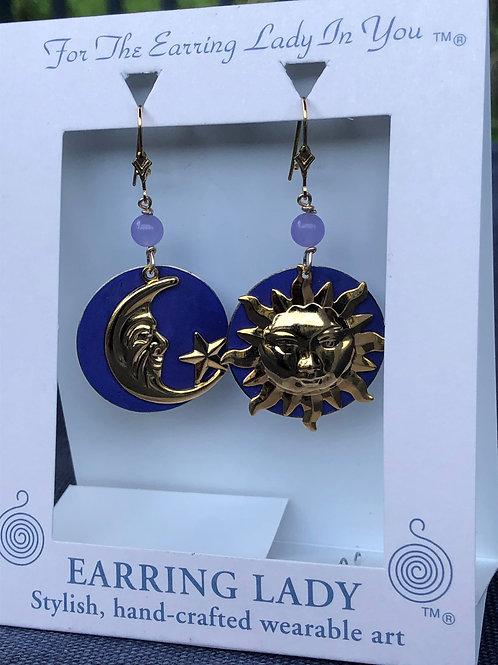 Sun,moon & star earrings