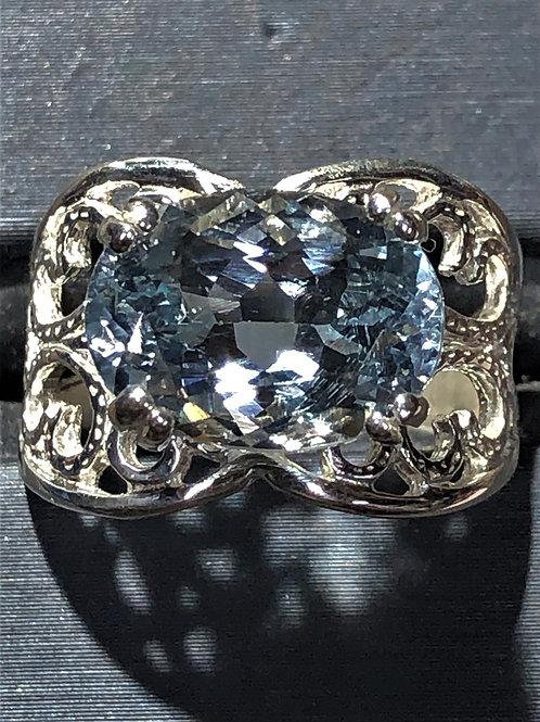 4.95 ct. Aquamarine sterling silver ring