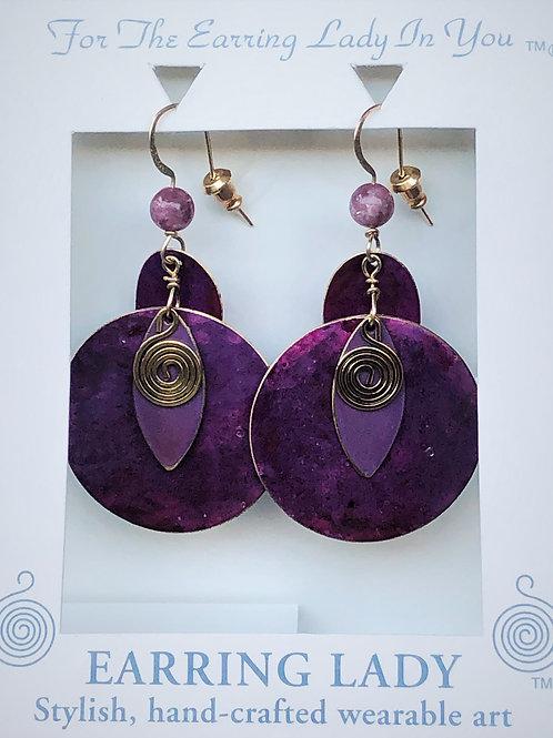 large purple patina earrings