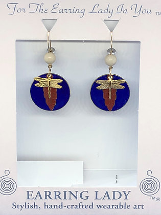 Red White & Blue Dragonfly Earrings