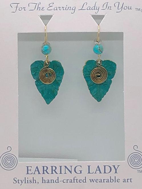 Patina brass leaf earring