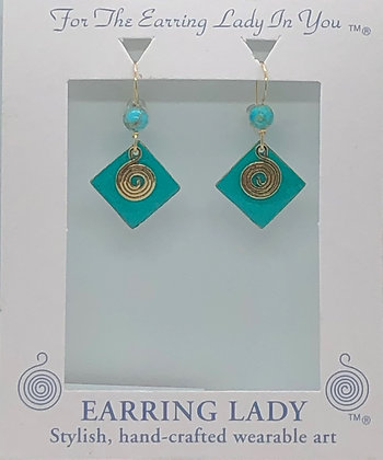 diamond verdigris patina brass with turquois earrings