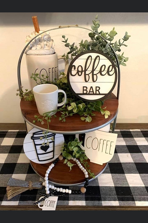 Coffee Bar Tiered Tray