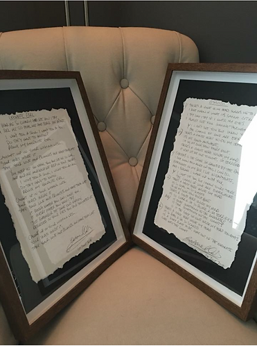 Framed Handwritten Lyrics of Your Choice