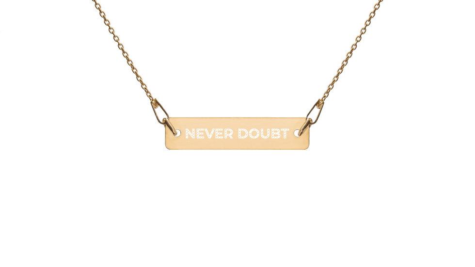 """Tilsen """"Never Doubt"""" 24K Gold Engraved Bar Necklace"""