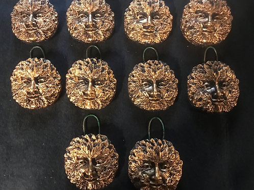 Greenman Tree Decorations(x10)antique gold coloured finish