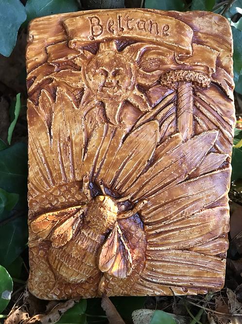 Beltane honey bee Sabbat animal plaque natural finish