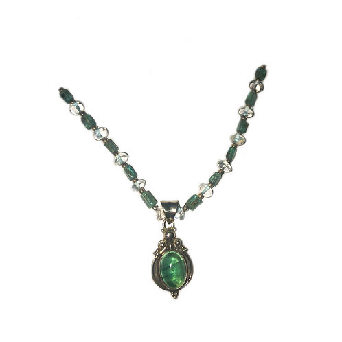 NI165 Aquamarine Peridot Drop Necklace