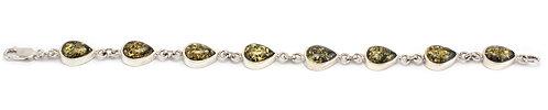 B200 Green Amber Drops Bracelet