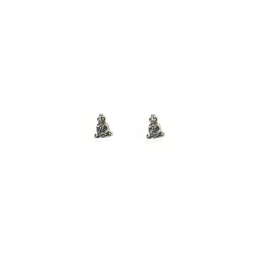 PE70 Silver Sitting Buddha Post Earrings