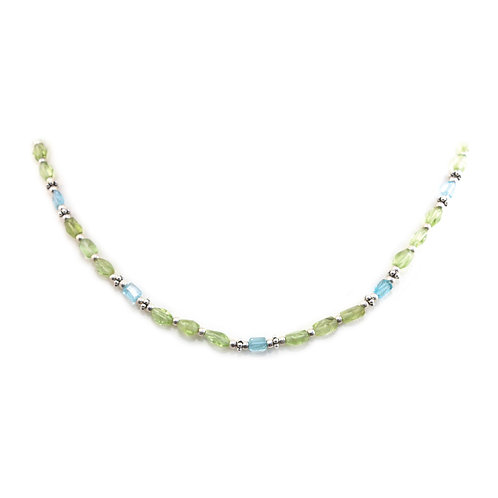 NI113A Apatite Peridot Beaded Necklace