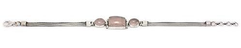 B213A Large Rose Quartz Cabochon  Bracelet