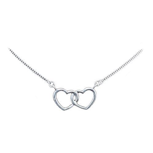 NI340 Silver Double Friendship Heart