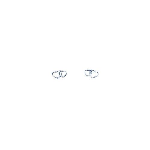 PE66 Silver Tiny Twin Heart Post Earrings