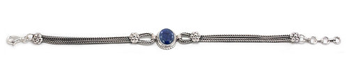 B109 Silver Rope and Stone Bracelet